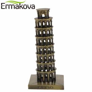 "ERMAKOVA 16cm(6.3"")Retro Metal Italy The Leaning Tower of Pisa Model World Famous Landmark Architecture Home Office Decor Gift"