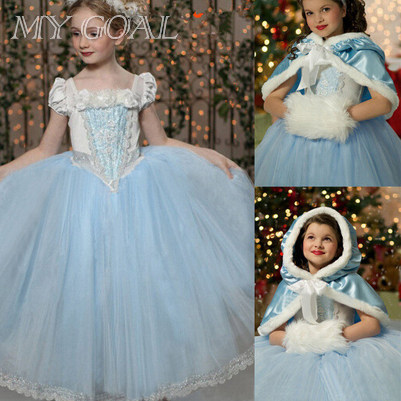 Girls Cinderella Princess Dress Kids Girl Movie Cosplay Costume With Shawl Fairy Tail Baby Girls Dresses Fantasy new girls movie cosplay dress kids costume cartoon fairy cinderella aurora princess dress gown party performances dresses