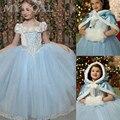 Niñas Cenicienta Princesa Dress Kids de la Muchacha Película Cosplay Con Mantón de Fairy Tail de los Bebés Vestidos de Fantasía