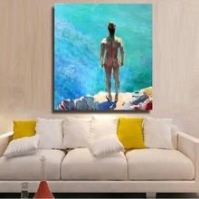 Best Hand-painted naked oil painting home decoration Wall art picture on Canvas Naked man facing sea