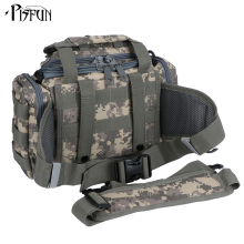 Pisfun Canvas Fishing Bag Multifunctional Men Shoulder & Waist & Hand Bag For Fishing Cycling Hiking Sport Climbing 7 Color