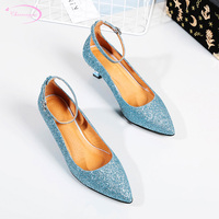 Chinese nightclub style sexy pointed toe real leather paint pumps rhinestone bling belt buckle medium with women shoes