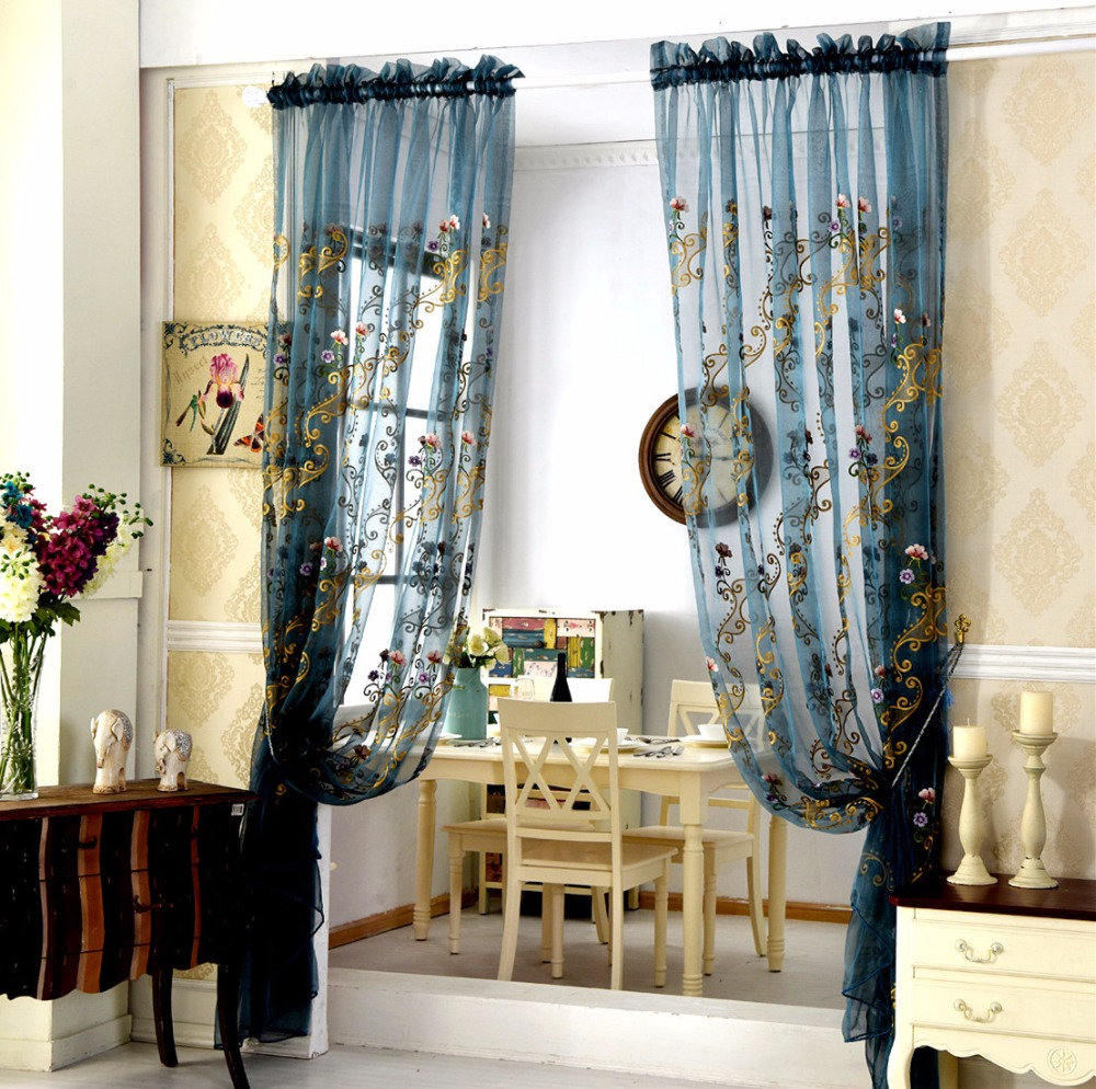 European style garden embroidered sheer curtains for - European style curtains for living room ...