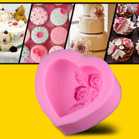 Rose Love Heart Cake Mould Decorating Tool DIY Kitchen Mold Baking Accessories