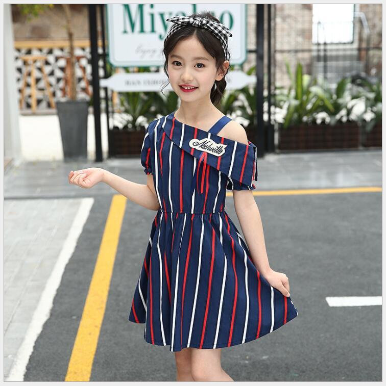 striped open shoulder tunic Teenager girls loose large sizes dress elegant girl beach holiday dress of 10 11 12 year old open shoulder printed dress