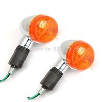 2X Chrome Motorcycle Amber Turn Signals Indicator Bike Blinker Lamp Light For Kawasaki VULCAN VN 800