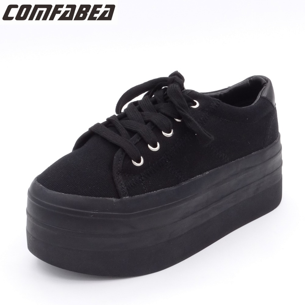 2018 Spring Autumn Canvas Shoes Women high platform casual shoes woman fashion lacing flat bottom black shoes for women 2017 women casual shoes women canvas shoes all match fashion colorant high lacing flat bottom vintage denim shoes for women