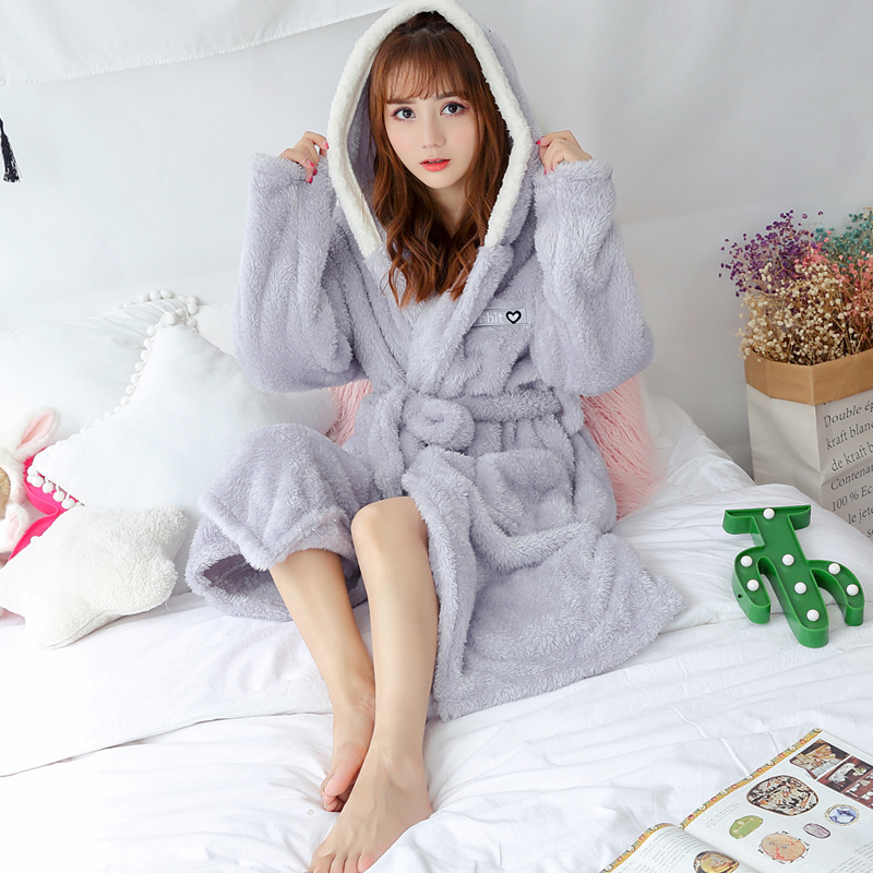 2019 Women Bathrobe Cartoon Cute Winter Warm Hooded Robe Ladies Casual Flannel Kimono Thick Long Bath Robes Dressing Gowns
