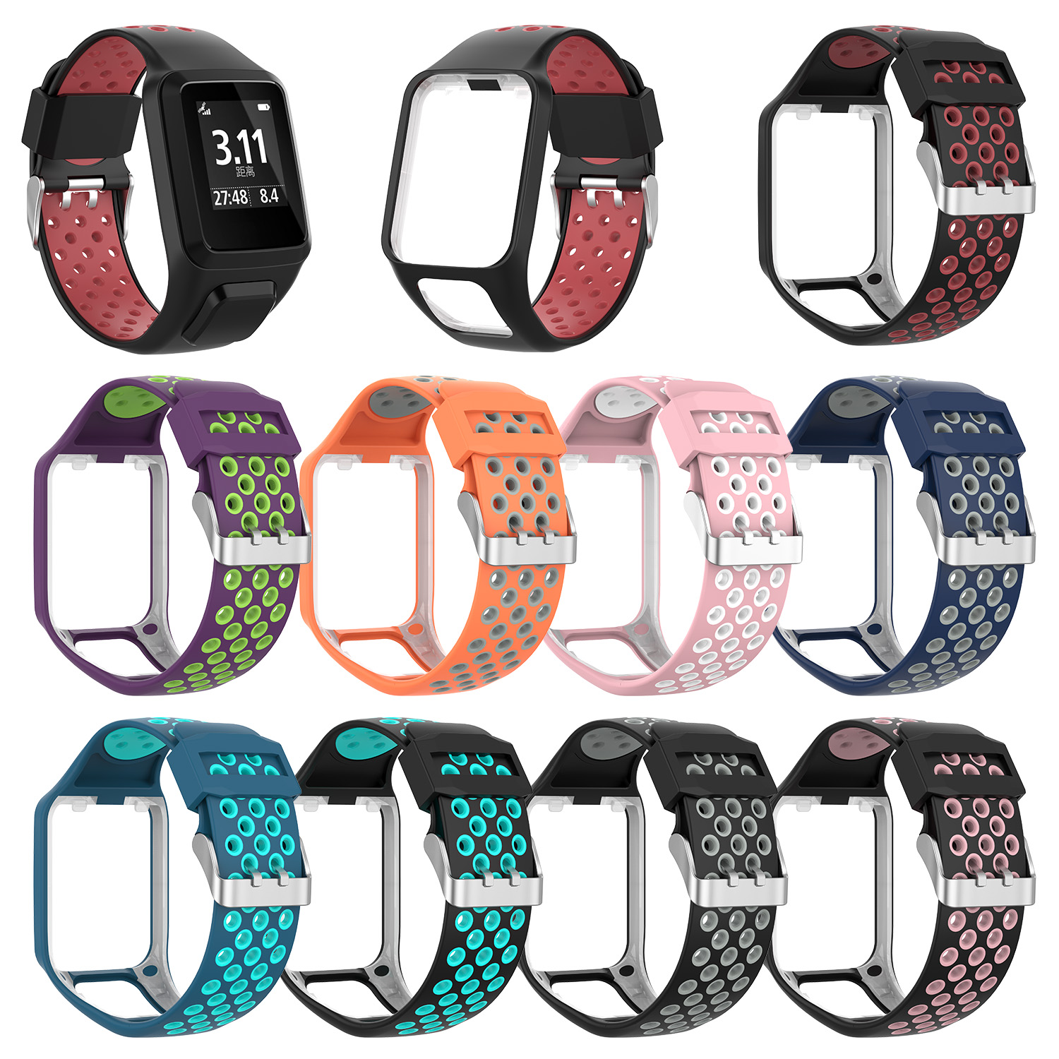 Replacement Silicone Strap For TomTom Runner 2 / 3 Spark/3 Breathable Band Sport Smart Watch Accessories