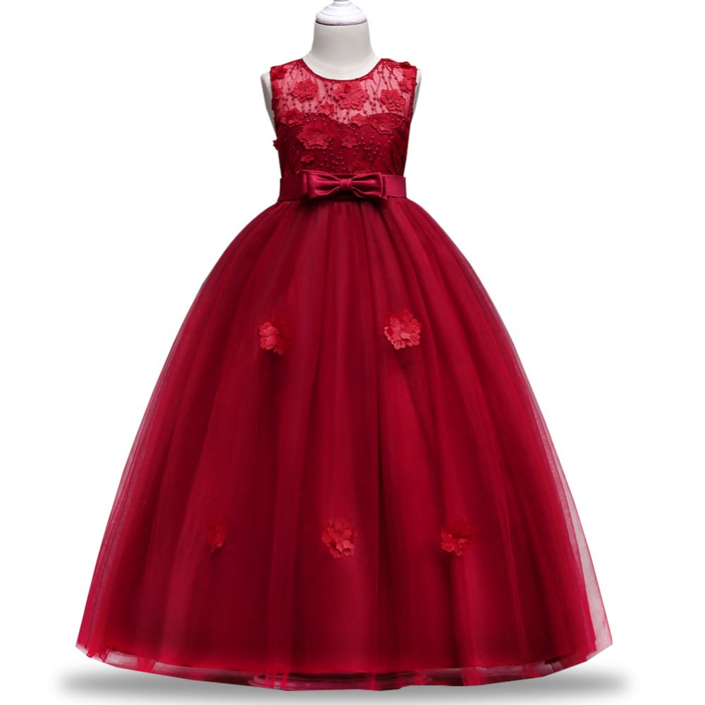 Elegant Girls Evening Wedding Birthday Flower Girl Dresses For Party Girls Dress First Communion Princess Dress Baby Costume