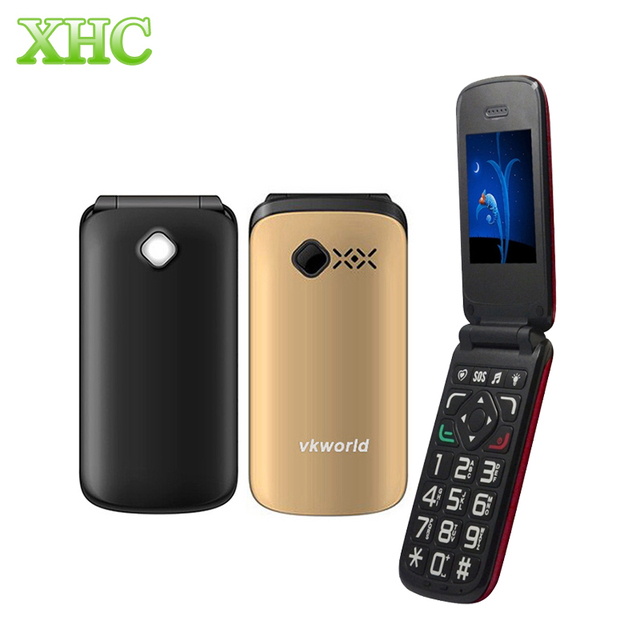 VKworld Z2 2.4 ''Большой Кнопка TFT Flip Старейшин Mobile Phone Dual SIM Card/0.3MP Камеры/FM/Факел 800 мАч Мини Телефон