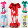 Retail ! autumn Baby girl's clothing set 2pcs Winnie Peasant top + ruffle pants set clothing suits for girls Free shipping