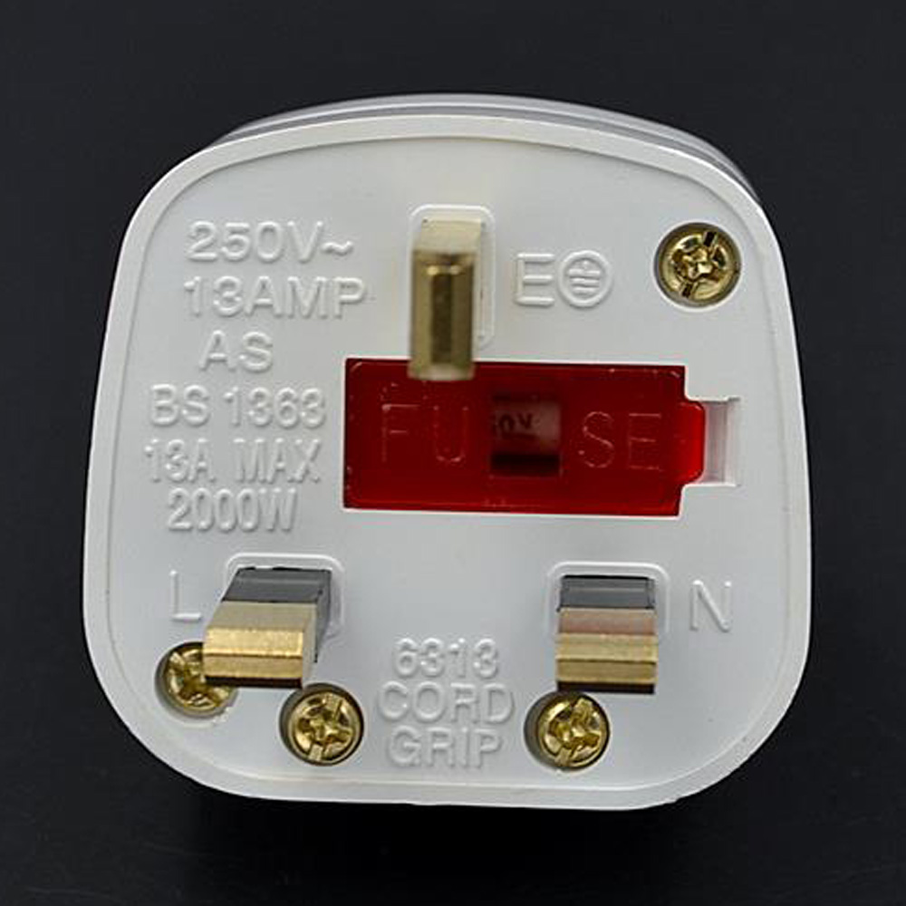 High Quility White 13a 250v British Power Plug With Fuse And Wiring Electrical Plugs Uk Independent Switch Adaptor For Hong Kong Macao In From
