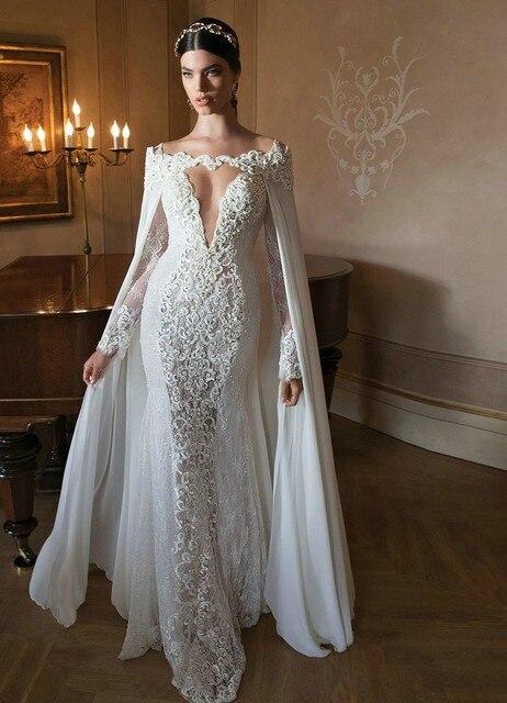 Romantische Königin Meerjungfrau Hochzeitskleid Langarm ...