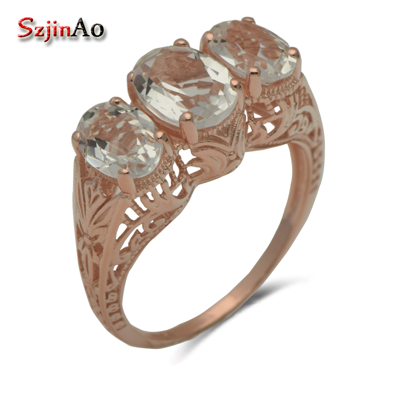 Szjinao Europe and the exquisite fashion women luxurious index finger ring jewelry, 925 silver rose Jin Bai zirconium rings exquisite gemstone embellished women s vivid alloy finger ring