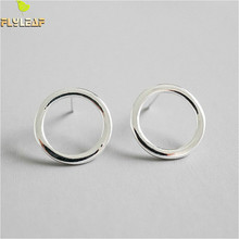 Flyleaf 925 Sterling Silver Earrings For Women Hollow Round Stud Earrings Femme Simple Fashion Fine Jewelry Party Student Gift flyleaf luxury zircon bow stud earrings for women 925 sterling silver student girl fashion jewelry brinco
