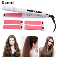 3 In 1 Replaceable Ceramic Hair Curler Corn Plate Hair Straightener Flat Iron Styling Tool Professional