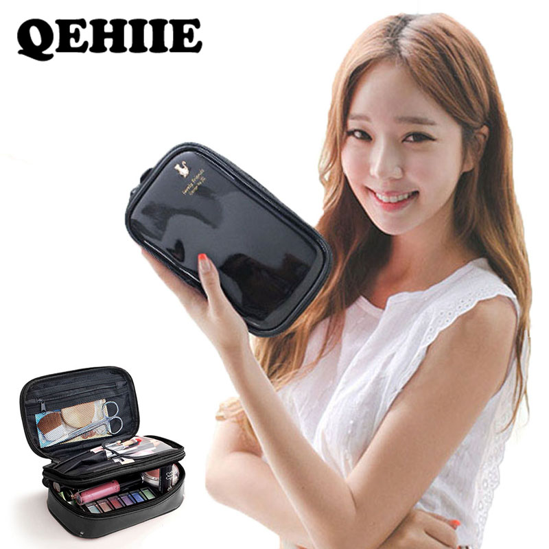 Women Waterproof PU Cosmetic Bag Travel OrganizerDouble Layer Make Up Bag High Capacity Cosmetic Case Beauty Case Storage Bags