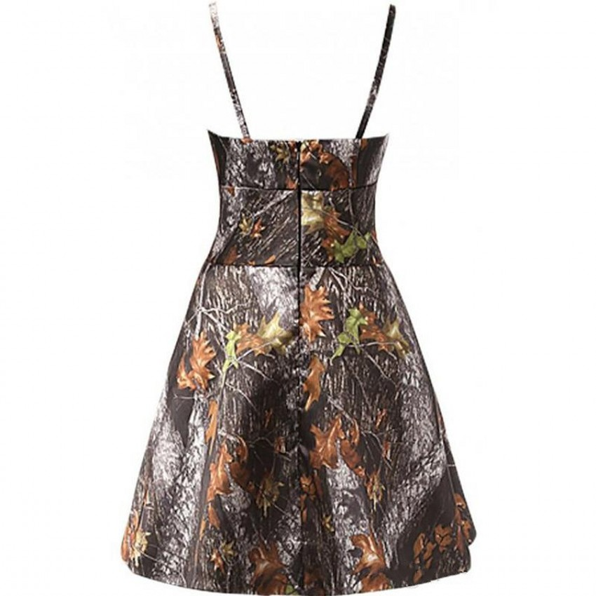 New A-Line Camo Evening Dresses Camouflage Zipper Party Prom Bridal Gowns Custom