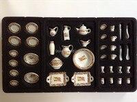 1 12 Cute MINI Dollhouse Miniature Kitchen White China Ceramic Floral Tea Dinnerware Set 40 Pcs