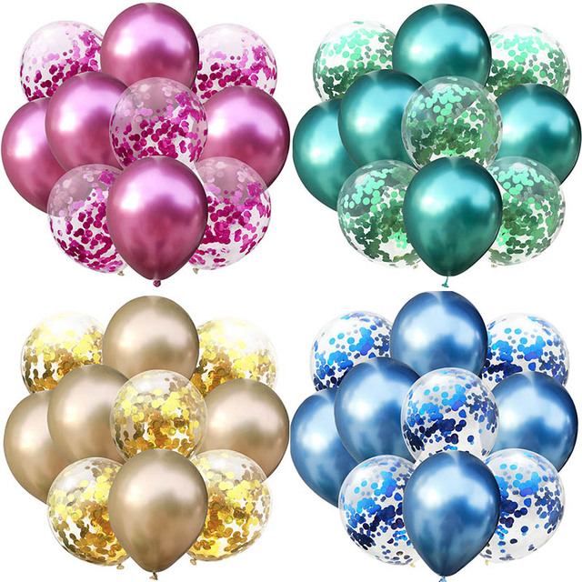 Hỗn hợp Vàng Confetti Bóng Bay Sinh Nhật Trang Trí Cho Trẻ Em và Người Lớn Kim Loại Bóng Không Bóng Đám Cưới Sinh Nhật Ballon Trang Trí Balo
