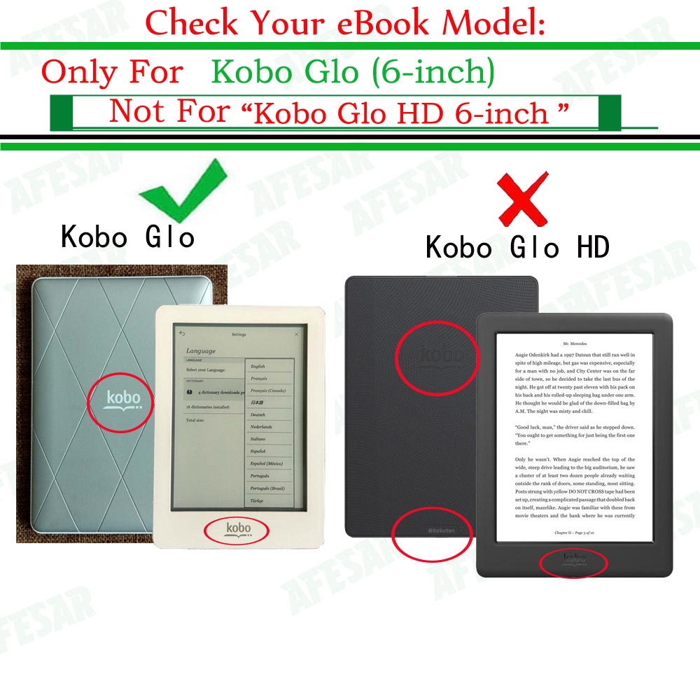 US $8 63 32% OFF|Model N613 eBook Flip Cover Case for Kobo Glo 6 inch  Rakuten ebook eReader pu leather cover pouch with Magnetic Closured  Sleep-in