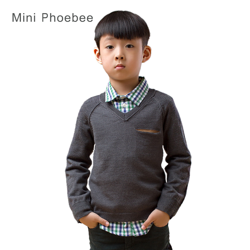 Merino wool Brand phoebee 2-8 years sweater for boys clothes for boy little sweaters children clothing cardigans Red gray cdk014