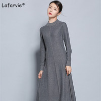 Lafarvie Autumn O Neck Knitted Sweater Women Long Style Pullover Female Solid Color Casual Soft Knitting