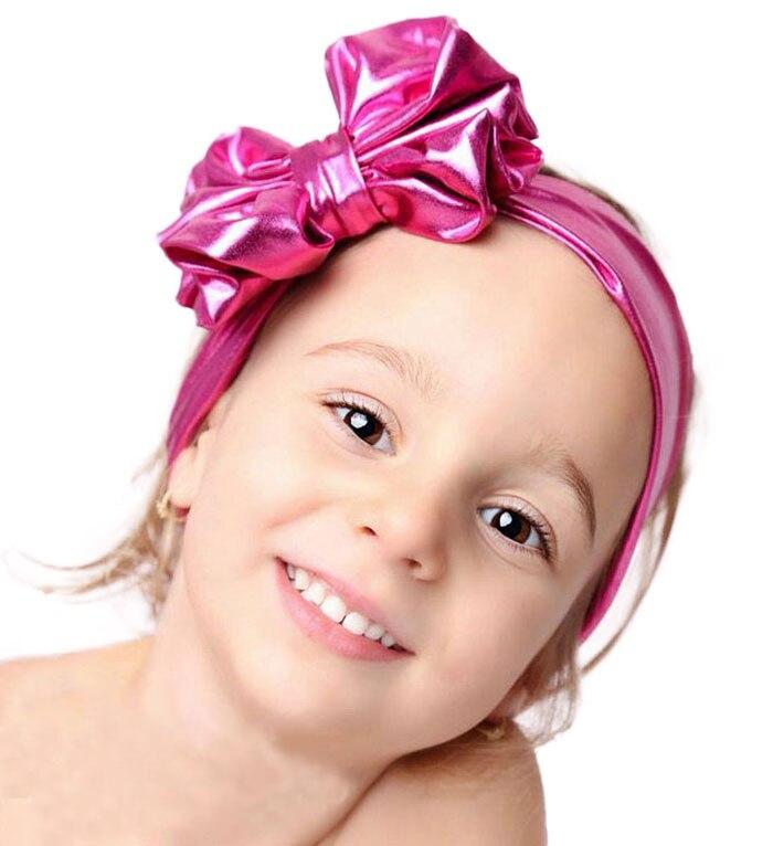 2018 Новая мода Дети Metallic беспорядочна большой бант для девочек повязка на голову ребенка лентой аксессуары для волос полосы accesorios пункт Эль ... ...