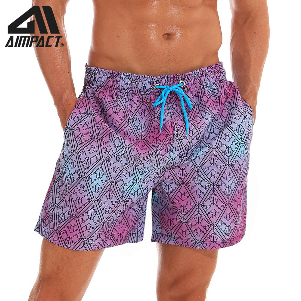 AIMPACT Mens Beach Short Swim Trunks Printed Purple Diamonds with Mesh Lining Pocket Quick Dry Man Board Shorts Swim Suit AM2200
