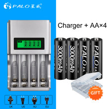 PALO Intelligent LCD Display Battery Charger For NI-MH NI-CD AA AAA Rechargeable Battery+4pcs AA rechargeable Batteries palo 4pcs 3000mah ni mh 1 2v aa rechargeable batteries aa battery battery rechargeable battery with lcd display battery charger