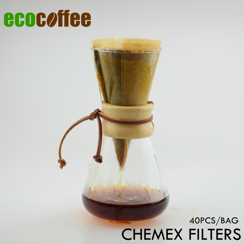 1PC Free Shipping  CHEMEX Style Coffee Brewer 1-3 Cups Counted  Chemex Filters 40Pcs Per Bag