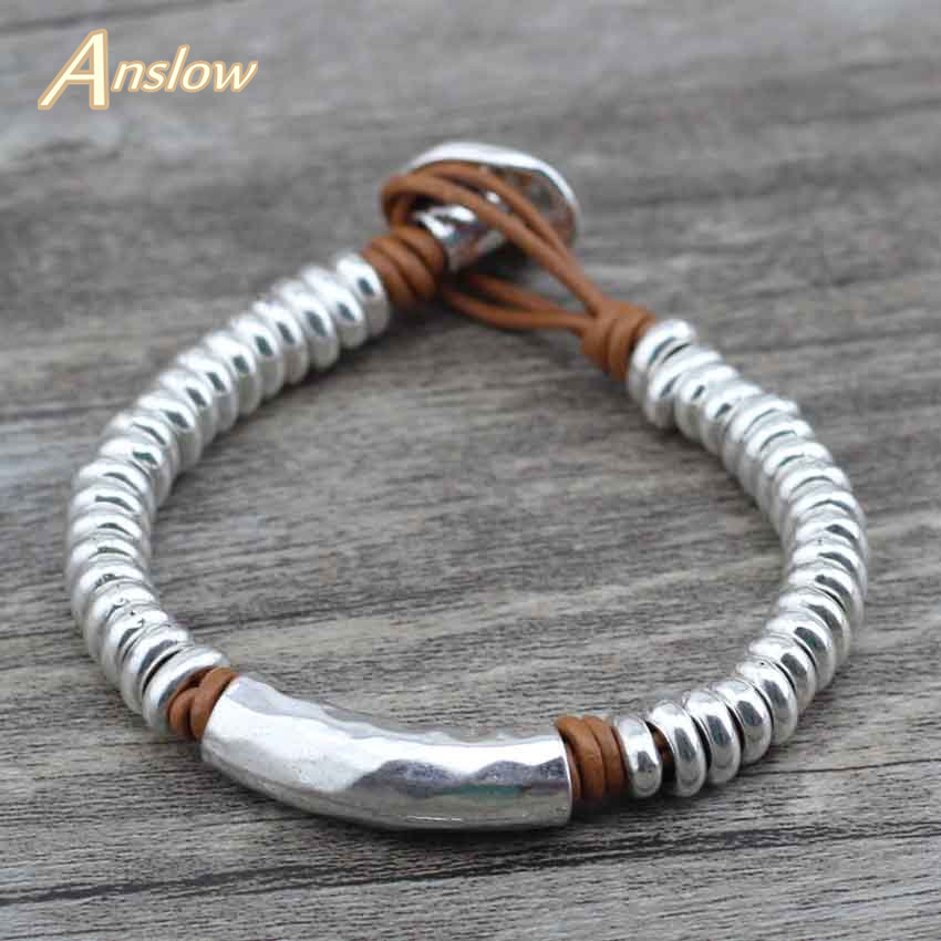 Anslow 2017 New Style New Antique Silver Plated Beads Wrap Rope Leather Bracelet For Women Men Wholesale Factory Sale LOW0559LB graceful rhinestone fox beads wrap bracelet for women