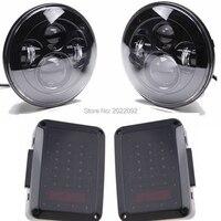 Черный 2 шт. 7 Круглый высокой ближнего света фар с 2 шт. Копченый светодиодные задние фонари для 2007 2015 wrangler