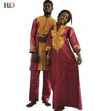H&D Dashiki african couple dress africa clothing for men and women embroidery robe femme africain married Bazin riche clothes(China)