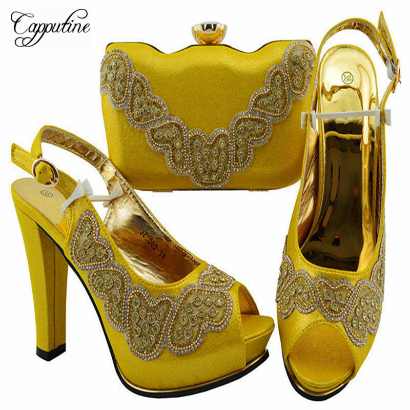 High Quality Fashion Woman Yellow Color Shoes And Bag Set 2019 African Elegant High Heels Shoes