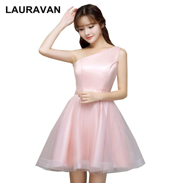 Robe Mariage Light Pink One Shoulder Tulle Elegant Teen Short Bride Maid Dress Bridesmaid Dresses For Ladies Wedding Ball Gown