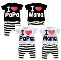 Retail 1set! 207 Children Clothing Summer Set boys girls I Love Papa and Mama short sleeve t-shirt+pants suit kids pajamas set