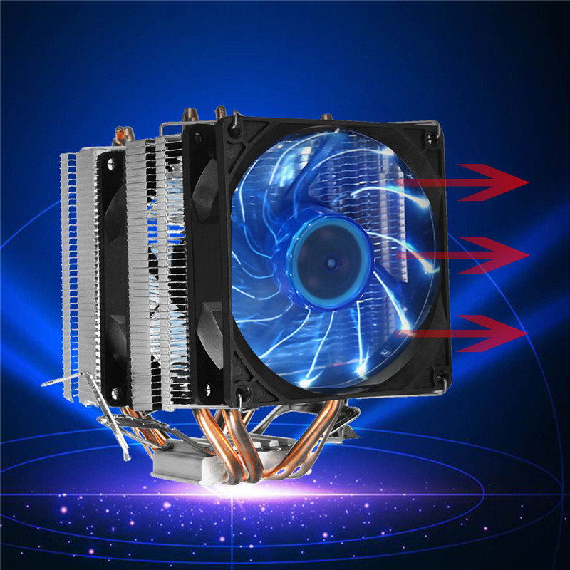 CPU Ventilateur De Refroidissement Refroidisseur Radiateur Heatpipe Radiateur Ventilateur Silencieux Ordinateur PC Cas Pour Intel Intel LGA 1366/1155/ 1156/775 AMD