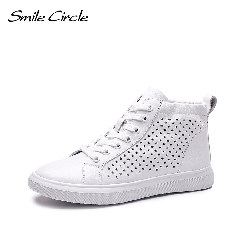 Smile Circle 2019 spring Women Sneakers Flat Genuine Leather Fashion High top white shoes Breathable Ladies