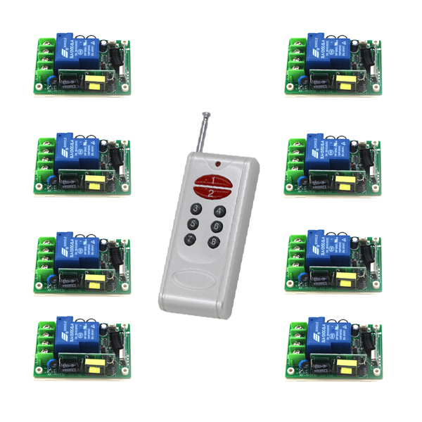 AC 85-250V 30A 1CH RF Learning Code Wireless Remote Control Switch 8*Receivers with 1pc 8-button Transmitters SKU: 5478 ac 85v 250v 1ch rf wireless remote control switch system 1 transmitters