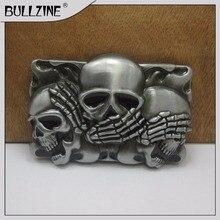Пряжка для ремня Bullzine Skull с оловянной отделкой FP-03399 подходит для ремня шириной 4 см