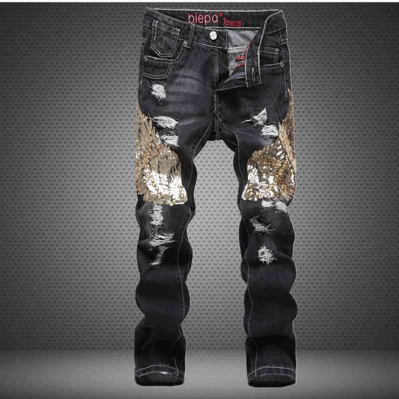 #3212 Jean homme marque Staight Slim Denim jeans men Fashion Hip hop Designer jeans men Pantalones hombre Black ripped jeans men