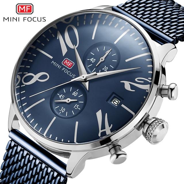 2020 Mens שעון גדול מספר שעון להקת רשת נירוסטה צמיד שעונים באיכות גבוהה שעוני יד כחול קוורץ שעונים גברים wach