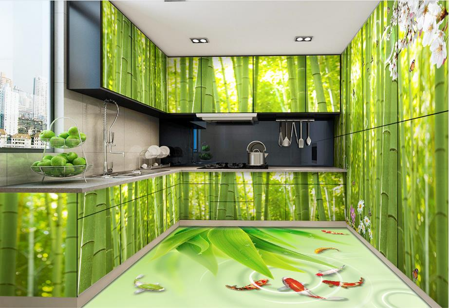 Online get cheap bamboo tile flooring for 3d wallpaper for kitchen walls