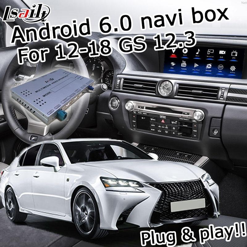 Android 6.0 boîte de navigation de généralistes pour Lexus GS 2012-2017 etc interface vidéo avec contrôle de la souris carplay GS450h GS350 GS300h