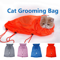 Cat Grooming Bag Adjustable Polyester Mesh Cat Restraint Bag For Grooming Bathing Nail Trimming Injecting Examining
