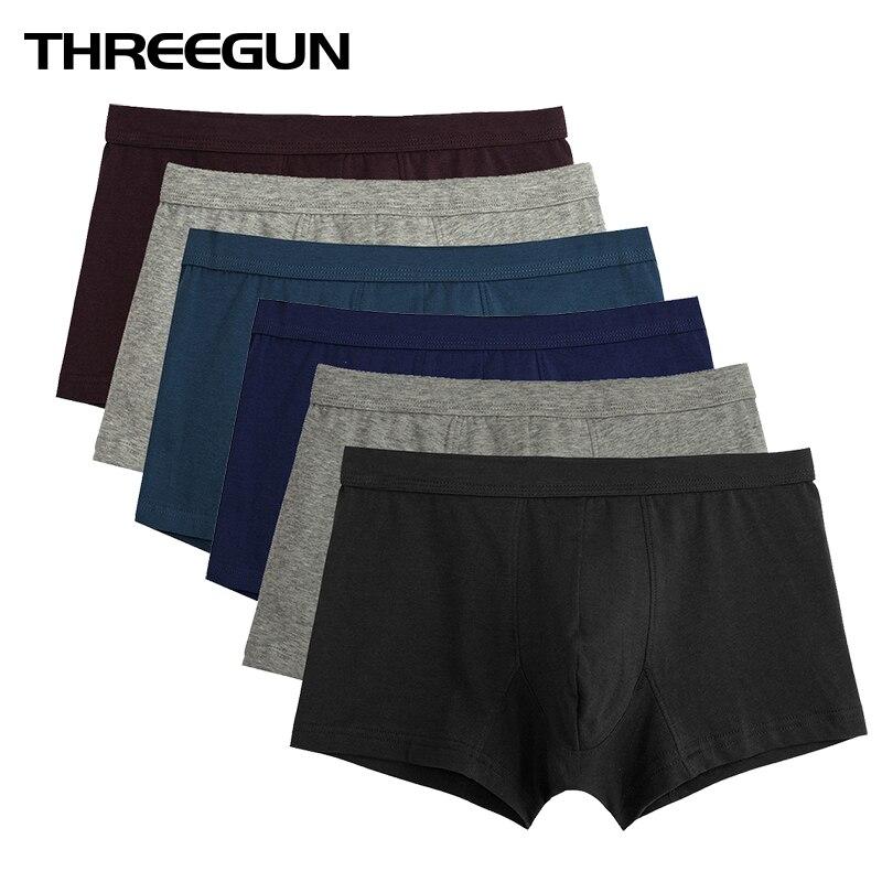 THREEGUN 6PCS/LOT Brand Mens Underwear Cotton Boxers Male Underwear Breathable Boxer Shorts Men Panties Sexy cueca Free Shipping