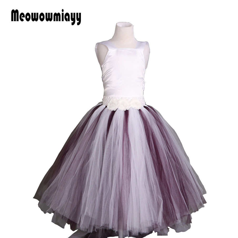 Girls dresses for party and wedding summer 2017 kids clothes Strapless 3 layers tutu prom dresses vestido infantil festa