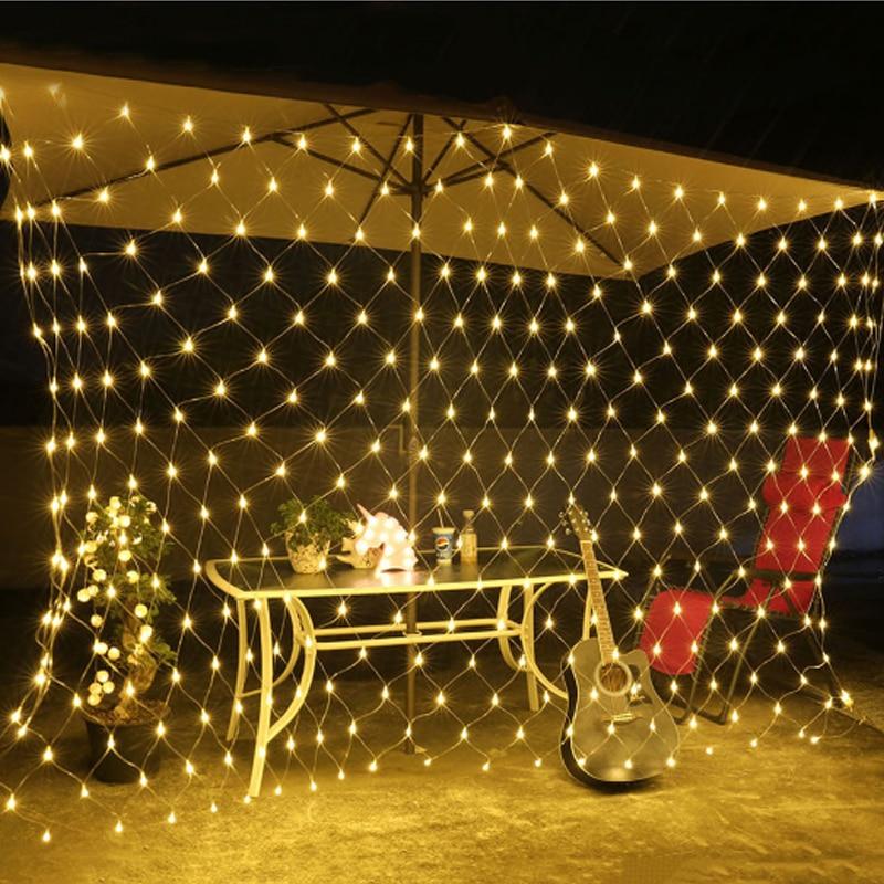 Led String light Holiday Lighting 3*2M 200LEDs Christmas Party Decor Lamp Net Mesh Curtain EU 220V Warm White With Tail Plug